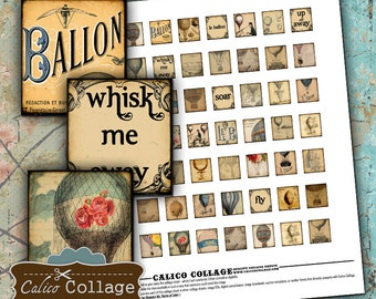 Hot Air Balloons Digital Collage Sheet Printable for Scrabble Tiles, Resin Jewelry, Bezel Settings, Steampunk Images, Calico Collage