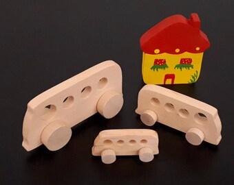 Wooden toys on wheels - VW Vans
