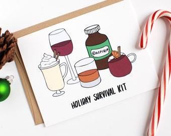 Funny Holiday Card - Funny Christmas Card - Holiday Survival Kit - Eggnog Christmas Card