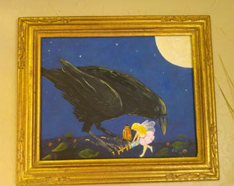 """oringinal painting """"Girls Night"""", Raven and fairy pals getting beautiful for a fun night out. crow, fairy, raven"""