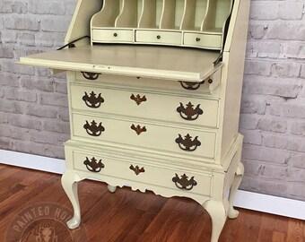 Secretary Desk Cream Distressed Solid Wood Raised Flower Design