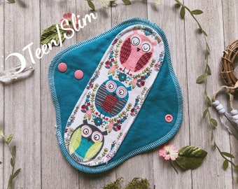 "8.5"" Teen/Slim Size Floral Owl Cloth Pad"