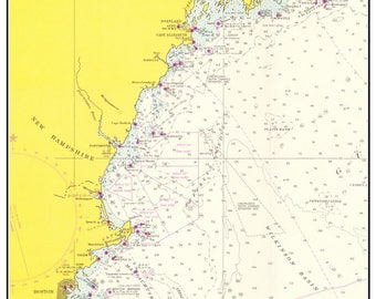 Boston to Casco Bay 1965 Nautical Chart - Lighthouses and Beacons - Custom Reprint NOAA BA 50-52