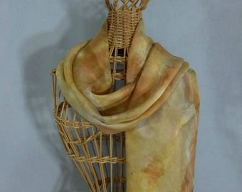 "Hand Painted Silk Scarf ""Amber and Gold"""