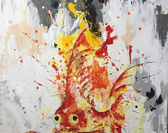 The fish MEO - acrylic paint with splatter