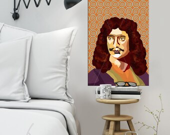 """Portrait """"Molière"""" - Tribute To Molière - FRAMED ART, Literature, iconArt, Personalized Gift, Name, Book Lover, Gift, For Women, For Men"""