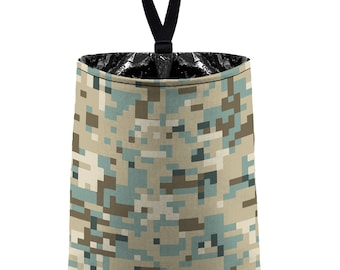 Car Trash Bag // Auto Trash Bag // Car Accessories // Car Litter Bag // Car Garbage Bag - Pixelated Camo - Camouflage Desert Tan Khaki Brown