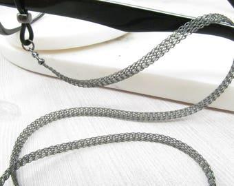 Metal ribbon soft black eyeglass chain; Reading Glasses Holder Necklace; Glasses Leash; Black Glasses Chain; Glasses Lanyard; kalxdesigns