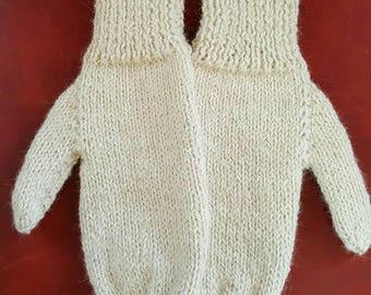 Hand Knit Alpaca Mittens - White