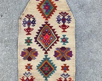 "East Anatolian Wall-hanging Prayer Mat - Corn husk & Wool weaving! Mid 20th century. - 21"" x 46"" - 54 x 117 cm."