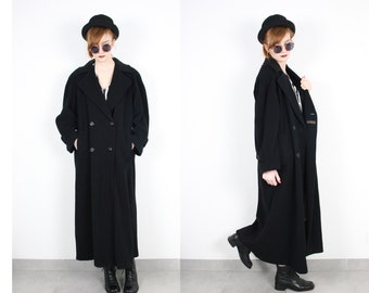 French Vintage 90's Cashmere Wool Maxi Long Coat Minimalist Oversied Loose fit Buttoned Double Breasted Long Winter OverCoat 1990s Sz S M