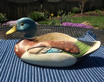 Vintage RB Japan Porcelain Ceramic Mallard Duck Planter with Rustic Patina