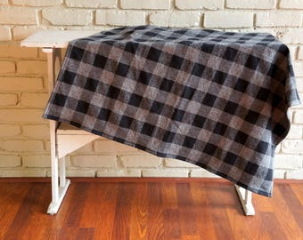 Black and Gray Check Flannel Baby Blanket - Receiving Blanket - Crib Blanket - Nursing Blanket - Baby Shower Gift under 25