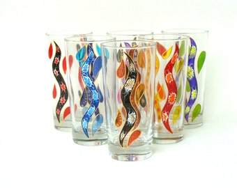 6 water glasses 'Waves and drops' multicolor, art of the table,.