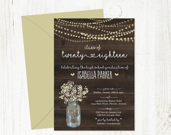 Rustic Graduation Invitation Template - Printable Wood Party Invite - Women / Girls High School / College Instant Download Digital File PDF
