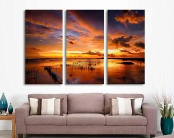 "3 Panel Split (Triptych) Canvas Print. Colorful Sunset Sea Beach wall decor Home Office Lobby Decor interior (Included framed 1.5""depth)"