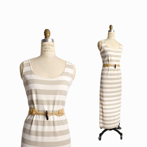 Vintage 90s Striped Tank Dress in Beige & Cream / 90s Express Dress / Summer Maxi Dress - women's small