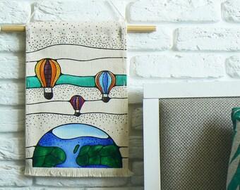 Hot air balloon art for kids room / Nursery balloon banner wall hanging / Earth decor wall gifts