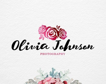 Pre made Rose Logo, hand drawn logo, Photography Logo Design, Watercolor logo