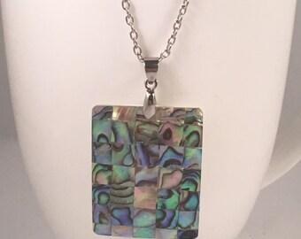 Rectangle abalone necklace, abalone pendant necklace, rectangle necklace, necklace rectangle, necklace iridescent