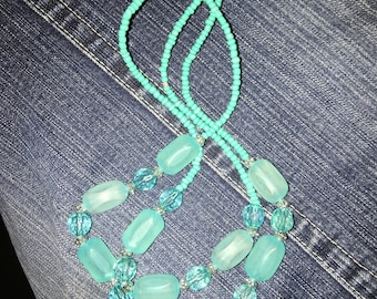Turquoise glass beads double strand necklace