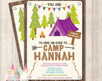 Camping Invitation - Camping Birthday Invitation - Sleepover Birthday Invitation - Camping Party - DIY Printable or Printed Invitation