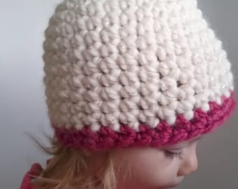 Toddler Beanie Hat Crochet Contrast Edge Made to Order custom color Young Child's warm wool winter autumn chunky thick washable