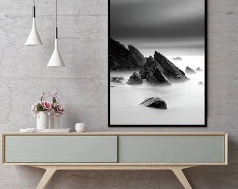 Rocks Black and White Canvas Wall Art