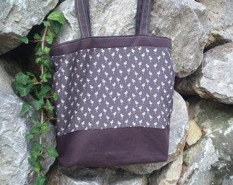 Brown shoulder bag small flamingos