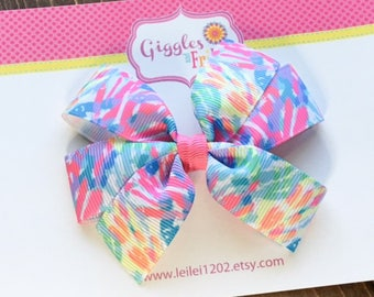 Lilly P Hair Bow, Lilly Pulitzer Inspired Bow, Toddler Hair Bow, Girls Hair Bows, Colorful Rainbow Bow, Lilly Pulitzer