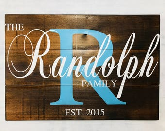 Family Teal Initial Sign - Last Name Sign - Family Name Sign - Family Established Sign - Wooden Family Sign - Wedding - , Fathers Day Gift