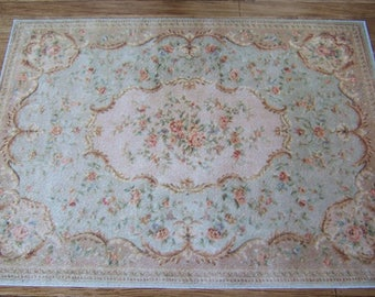 Aubusson Dolls House Rug Petit Roses, 2 Sizes for 1/12th Scale & 1/6th Scale, Downton Abbey Style, French Provincial Dollhouse, UK Seller