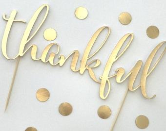 Thankful Cake Topper, Fall Cake Topper, Thanksgiving, Baby Shower, Gold Foil or Gold Glitter Cake Topper