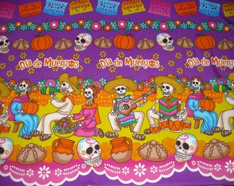 Fabric Skulls Day of the Dead Dia de los Muertos Sugar Skulls fabric Tablecloth from Mexico