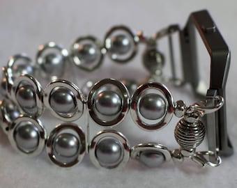 FITBIT Blaze, Watch Band for Fitbit Blaze, Silver Ovals and Silver Beads Watch Band for Fitbit, Silver Watch Band for Fitbit Blaze
