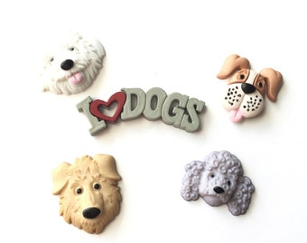 I Love Dog Magnets, Dog Face Magnets, Puppies Magnets, Dog Lover's Gift, Canine