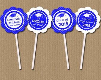 High School Graduation Party Decorations, Graduation Cupcake Topper Printable, College Graduation Party Ideas, Blue Cupcake Decorations G6