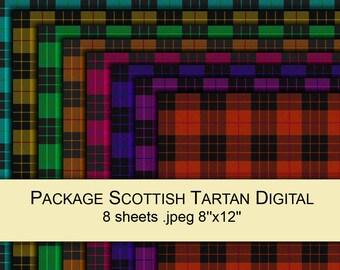 Scottish plaid tartan yellow green red blue purple orange pink digital paper PACK x8 for scrapbooking / gift wrap printable instant download