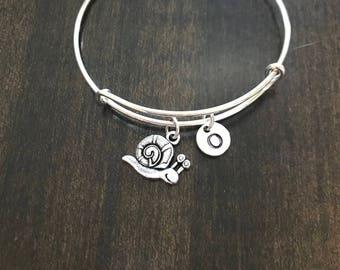 snail charm initial Bracelet, snail Jewelry,snail Charm Bracelet, snail Bangle CN29