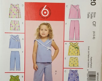 McCall's MP220, Child's Top, Shorts and Capri Pants, Wrap Front Top, Sailor Collar, Size 4,Size 5, Size 6, Uncut Children's Pattern