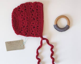 The Lucy Bonnet // Cranberry // Size 3-6 Months // Ready to Ship