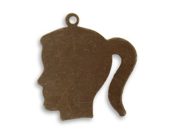 Vintaj, Natural Brass Silhouette Girl, Qty 1