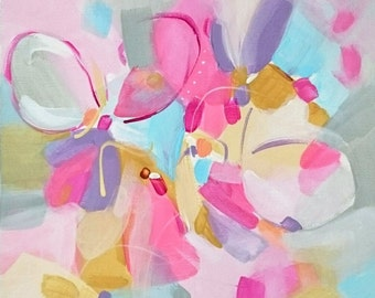 Summer Blooms. Abstract Art. Original Acrylic Painting. Modern Art. Contemporary Art.