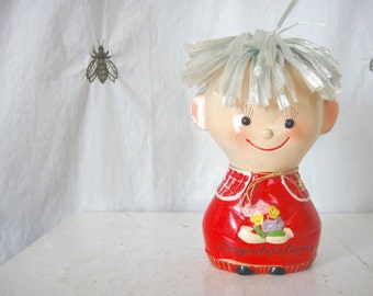 Vintage Lego Japan Piggy Bank, Little Boy with Raffia Hair, Congratulations Flowers