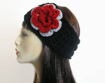 Crochet headband with Flower Black Thick Headband with Flower Black Head Wrap Black Ear Warmer Black Black Knit Head Band with Flower