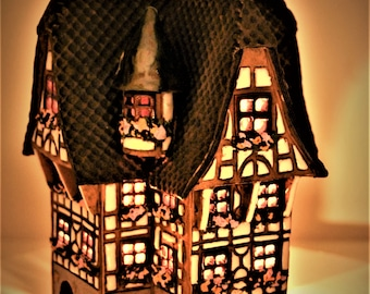 Ceramic houses.Ceramic candle holder house .Vintage Ceramic House.Houses of different countries .Miniature house.