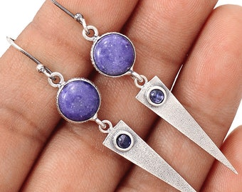 Authentic Murado Opal / Tiffany Stone Cabs. Sterling Silver Earrings. Amethyst Accents. 2 3/8'' Long. 7833