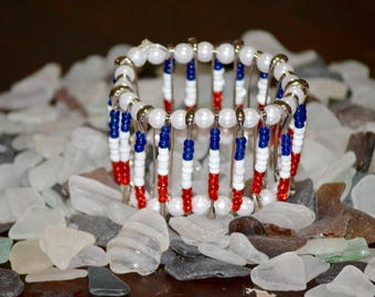 Red, White, Blue Safety Pin Bracelet