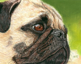 Pug Painting Print, Contentment, Dog, Art Print, Reproduction, Fine Art, Pet, Realism, Pastel, 5 x 7, Painting Print, Animal, Nature