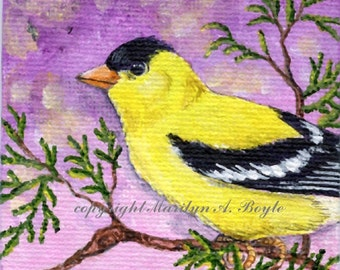 ORIGINAL MINIATURE ART; 3 x 3 canvas board on wood easel, golffinch, garden, nature, shelf art,
